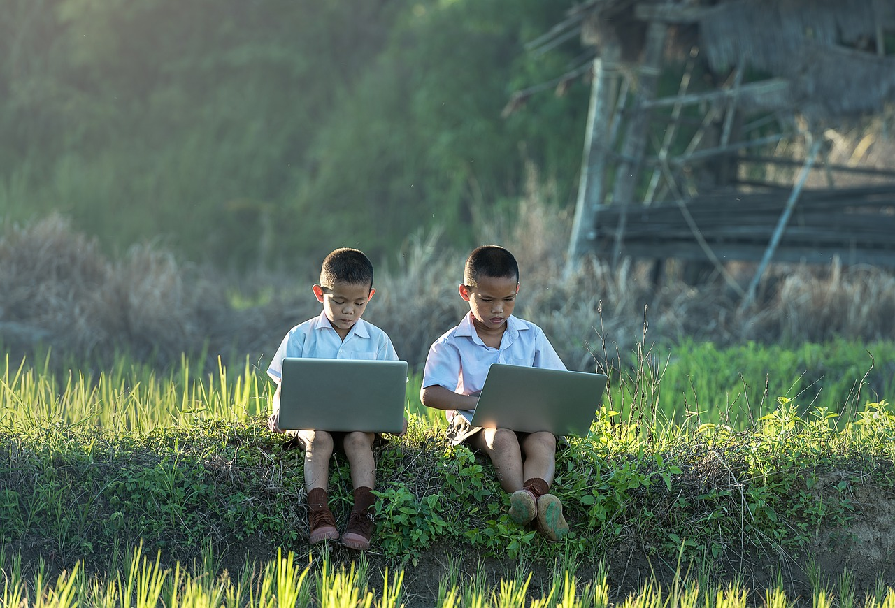 image: two little boys on laptops