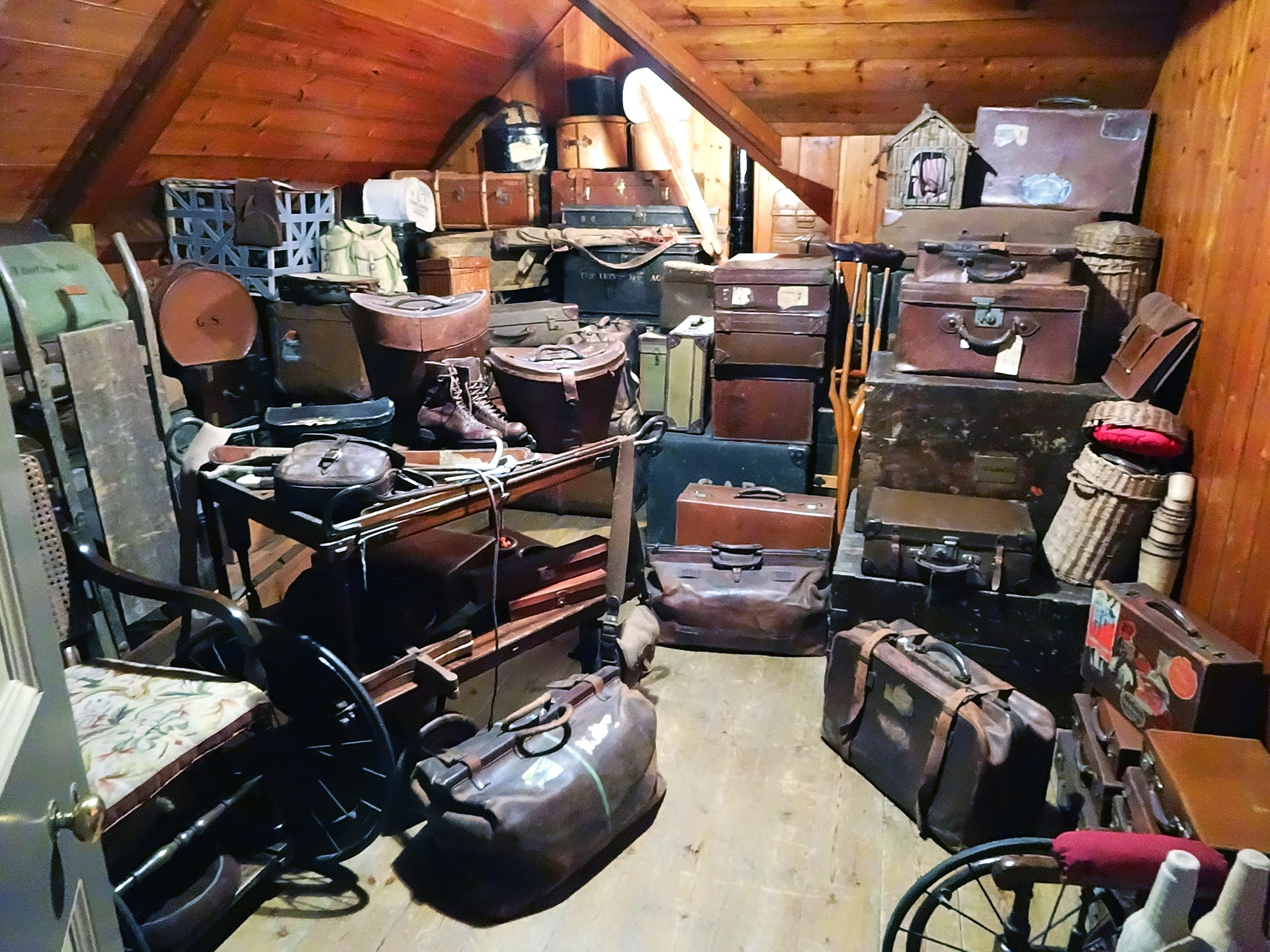 Image: Cluttered storage room with suitcases and bags