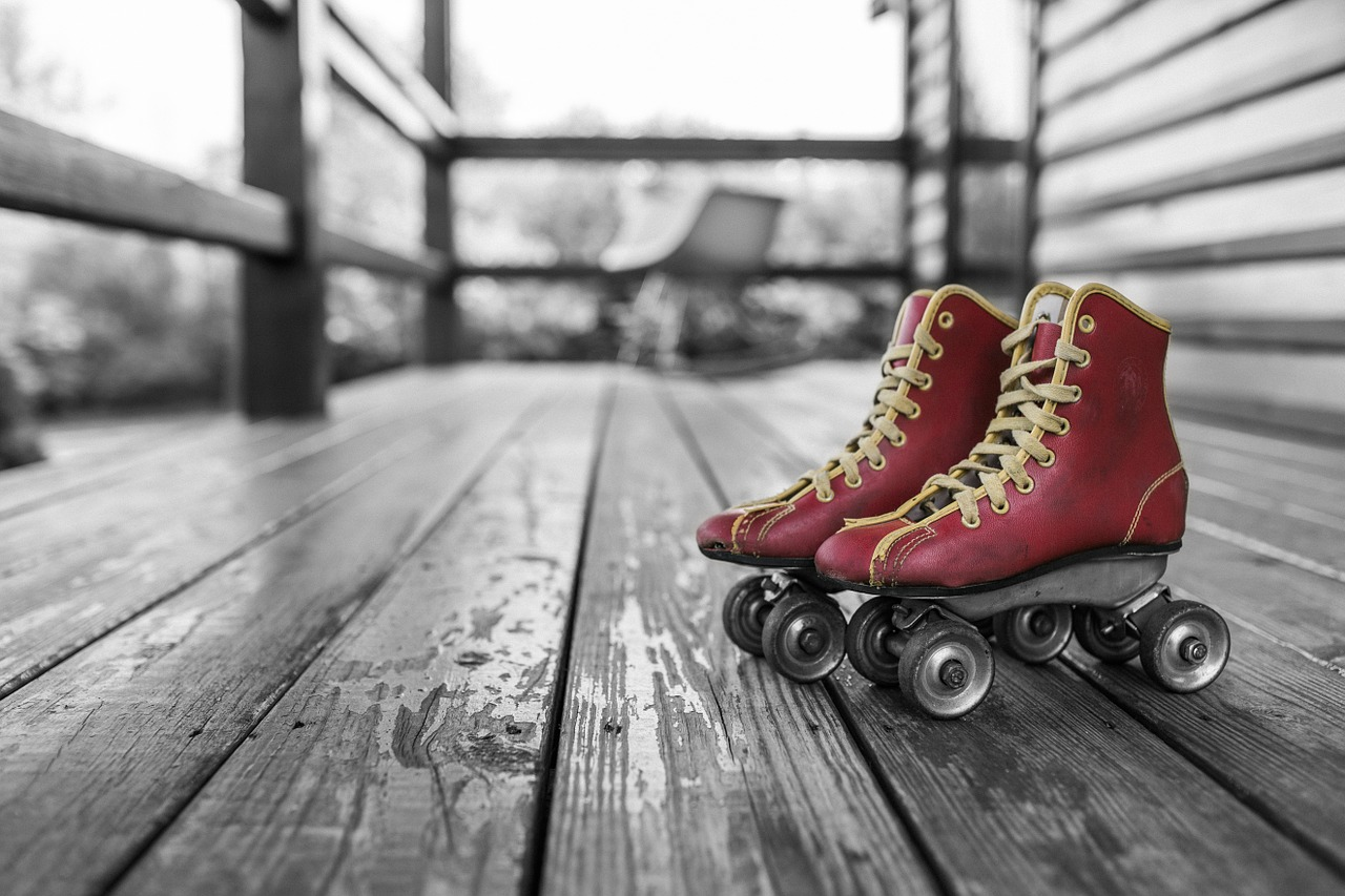 image: roller skates on veranda deck porch